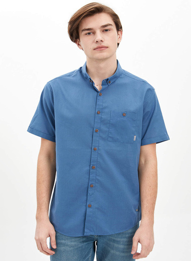 DeFacto Tek Cepli Slim Fit Gömlek Mavi